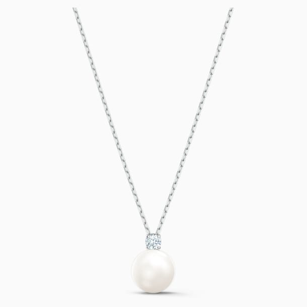 Treasure Pearl Necklace, White, Rhodium plated - Swarovski, 5563288