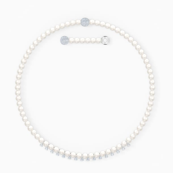 Colar Treasure Pearls, branco, banhado a ródio - Swarovski, 5563289