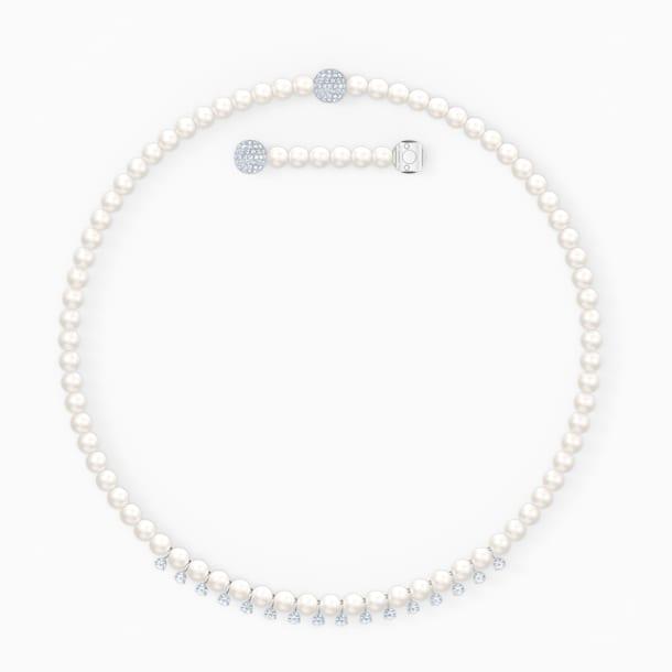 Treasure Pearls Necklace, White, Rhodium plated - Swarovski, 5563289