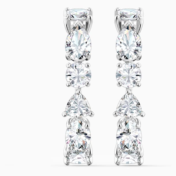 Tennis Deluxe Mixed Pierced Earrings, White, Rhodium plated - Swarovski, 5563322