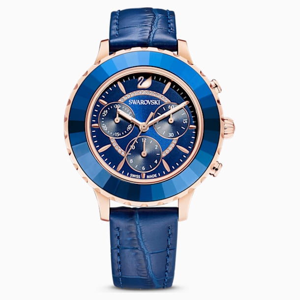 Octea Lux Chrono Watch, Leather strap, Blue, Rose-gold tone PVD - Swarovski, 5563480