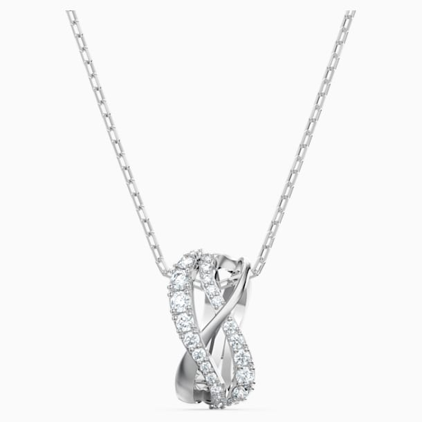 Twist Rows Pendant, White, Rhodium plated - Swarovski, 5563906