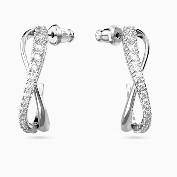 Twist Hoop Pierced Earrings, White, Rhodium plated - Swarovski, 5563908