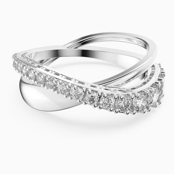 Twist Rows Ring, weiss, rhodiniert - Swarovski, 5563911