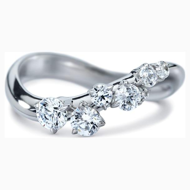Signature Wave Ring, Swarovski Created Diamonds, 18K White Gold, Size 58 - Swarovski, 5564016