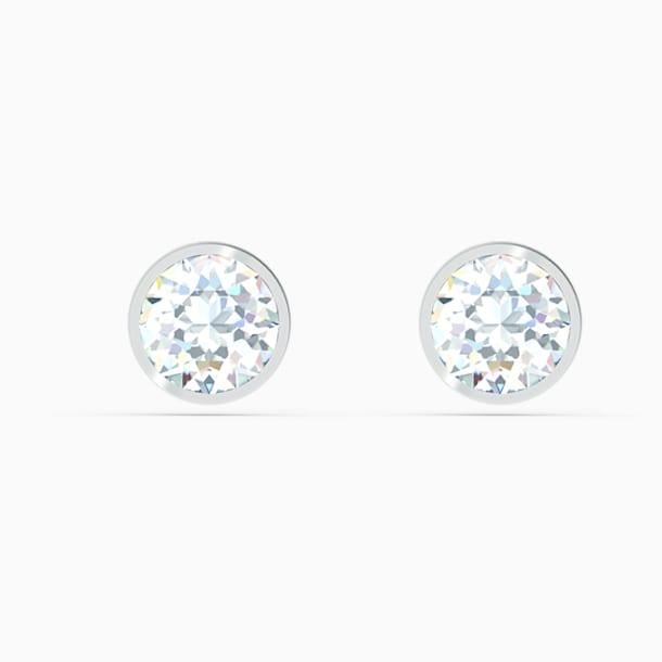 Tennis Stud Pierced Earrings, White, Rhodium plated - Swarovski, 5565604