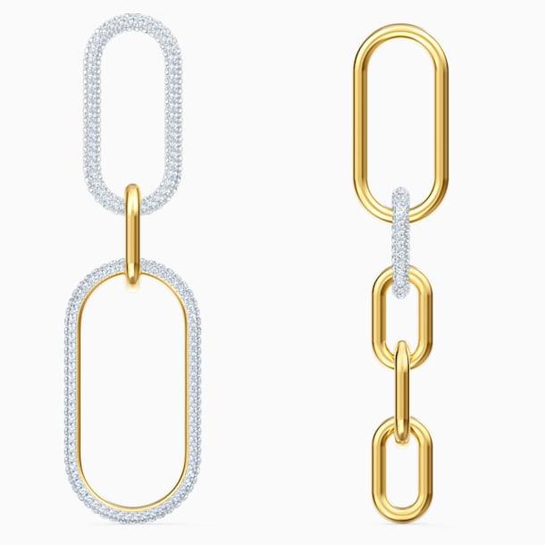 Time 穿孔耳環, 白色, 多種金屬潤飾 - Swarovski, 5566004