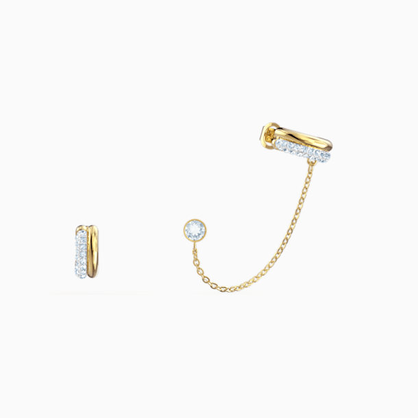 Τρυπητά σκουλαρίκια χειροπέδες Time, λευκό, μικτό μεταλλικό φινίρισμα - Swarovski, 5566005