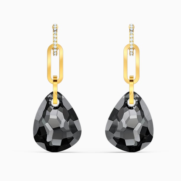 T Bar Pierced Earrings, Medium, Grey, Gold-tone plated - Swarovski, 5566148