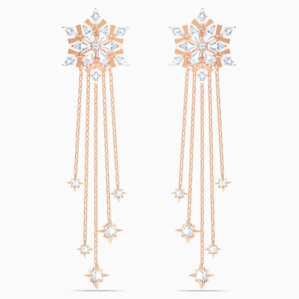 Brincos para orelhas furadas Magic, brancos, banhados a rosa dourado - Swarovski, 5566674