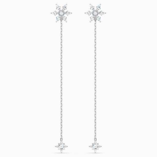 Magic Chain 穿孔耳環, 白色, 鍍白金色 - Swarovski, 5566677