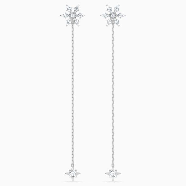 Magic Chain Pierced Earrings, White, Rhodium plated - Swarovski, 5566677