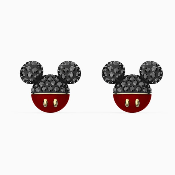 Mickey Pierced Earrings, Black, Gold-tone plated - Swarovski, 5566691