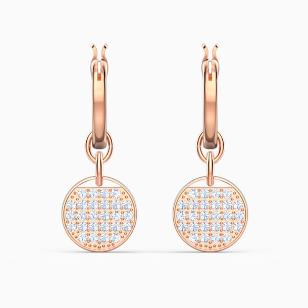 스와로브스키 귀걸이 Swarovski Ginger Mini Hoop Pierced Earrings, White, Rose-gold tone plated