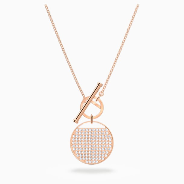 Ginger T Bar Necklace, White, Rose-gold tone plated - Swarovski, 5567529
