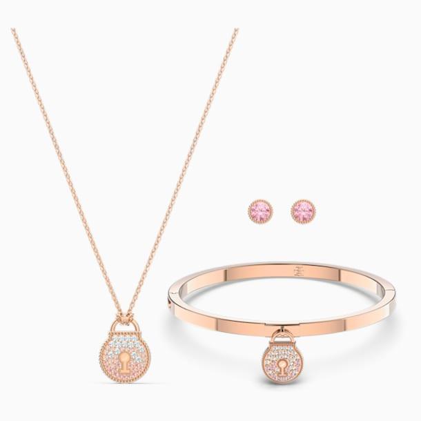 Togetherness Lock Set (3), Pink, Rose-gold tone plated - Swarovski, 5568030