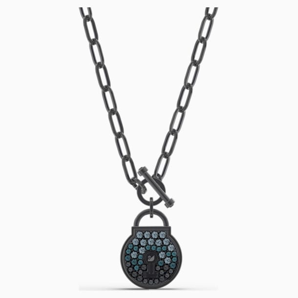 Togetherness Lock Necklace, Black, Black PVD - Swarovski, 5568034