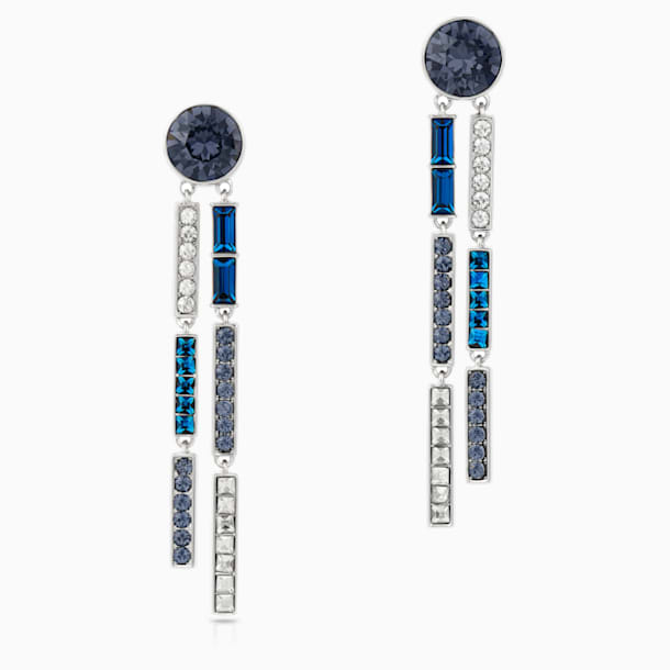 Karl Lagerfeld Drop Pierced Earrings, Blue, Palladium plated - Swarovski, 5568586