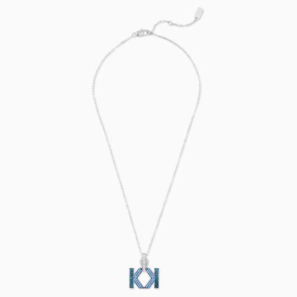 Collar Karl Lagerfeld Logo, azul, baño de paladio - Swarovski, 5568589