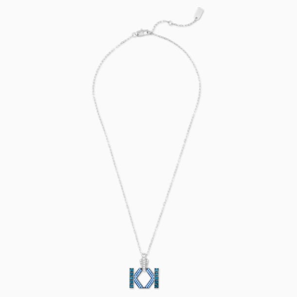 Karl Lagerfeld Logo Necklace, Blue, Palladium plated - Swarovski, 5568589