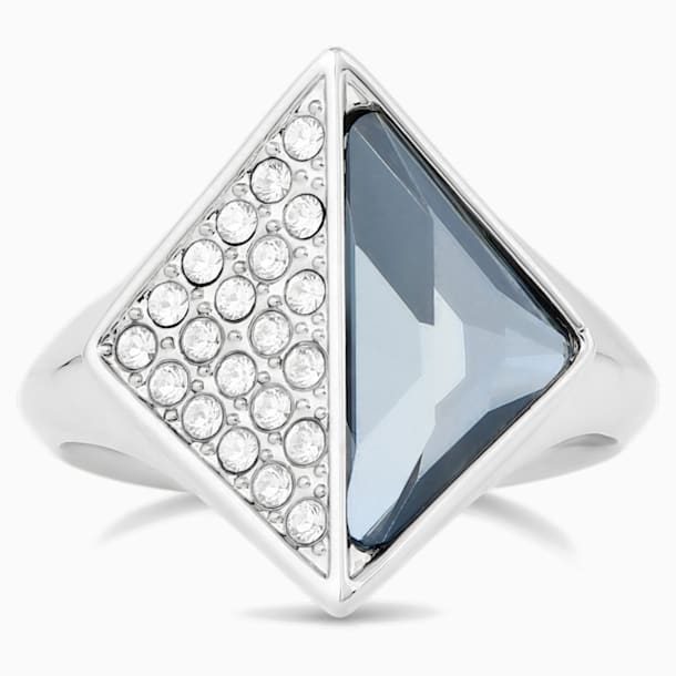 Bague chevalière Karl Lagerfeld, bleu, métal plaqué palladium - Swarovski, 5568591