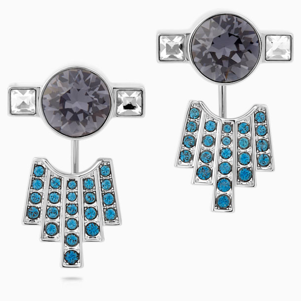 Karl Lagerfeld Pierced Earring Jackets, Blue, Palladium plated - Swarovski, 5568601
