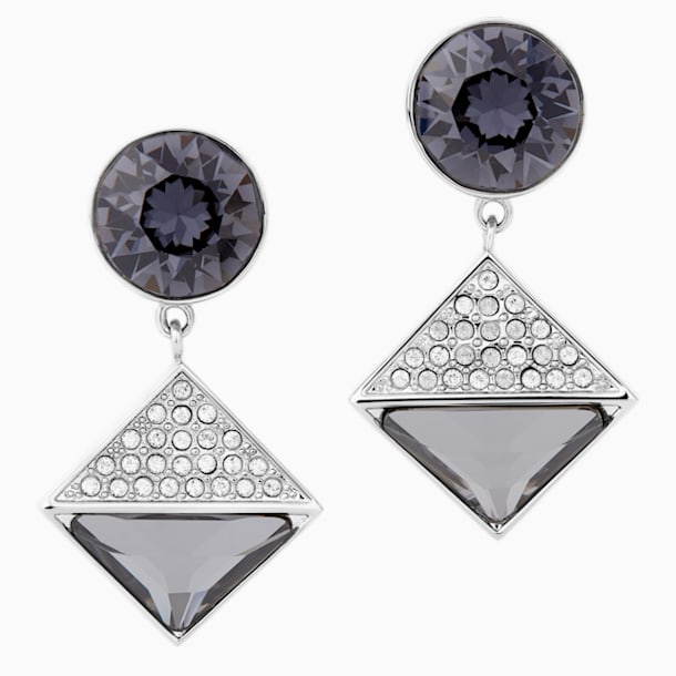 Karl Lagerfeld Geometric Pierced Earrings, Grey, Palladium plated - Swarovski, 5568613