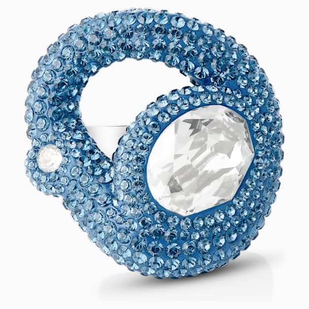 Tigris 戒指, 海蓝色, 镀钯 - Swarovski, 5568617