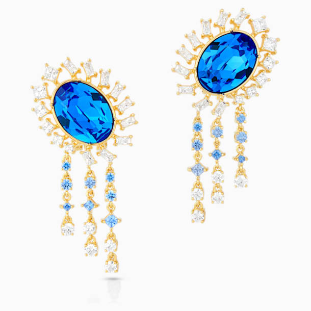 Icons of Film Pierced Earrings, Blue, Gold-tone plated - Swarovski, 5569083