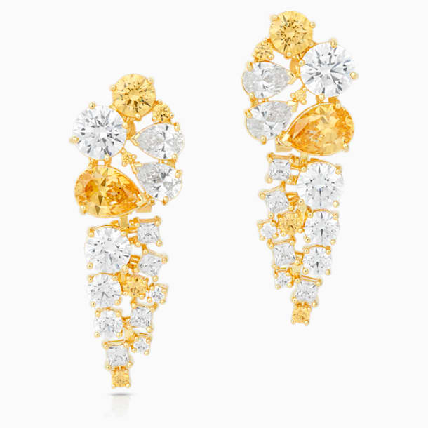 Penélope Cruz Icons of Film 水滴形穿色耳環, 黃色, 鍍金色色調 - Swarovski, 5569084