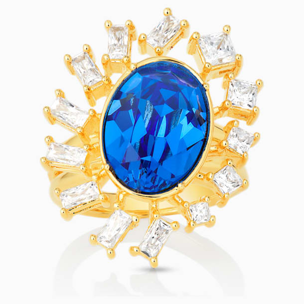 Penélope Cruz Icons of Film Ring, Blue, Gold-tone plated - Swarovski, 5569087