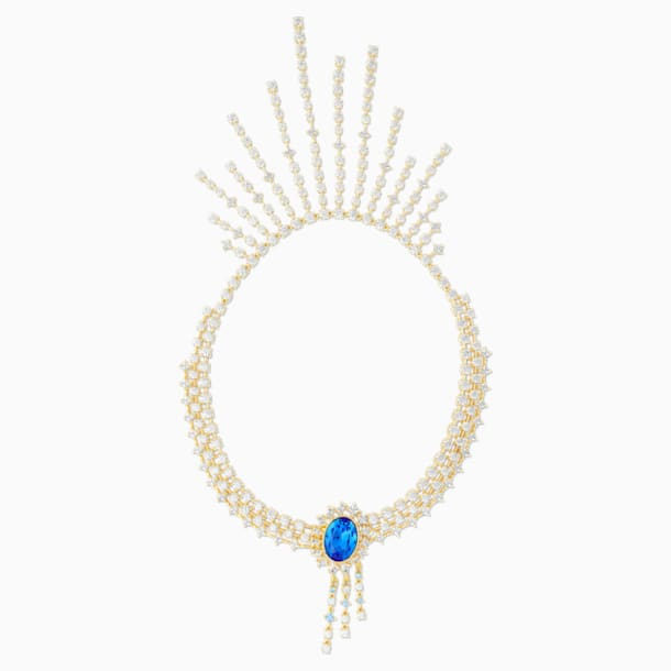 Penélope Cruz Icons of Film Necklace, Blue, Gold-tone plated - Swarovski, 5569101