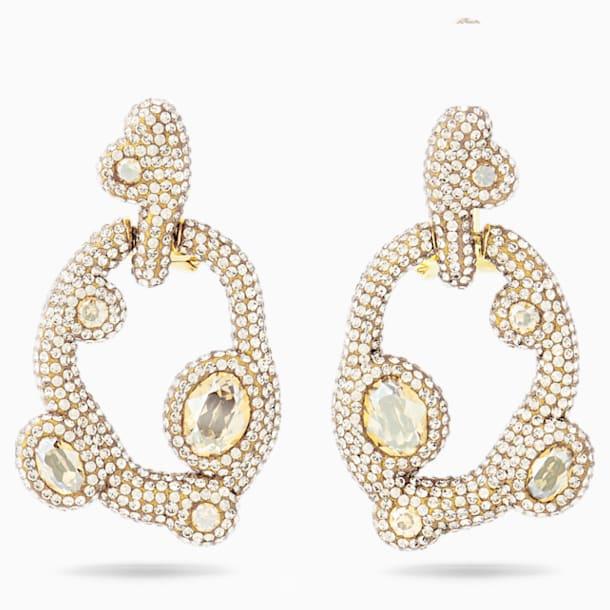 Tigris Pierced Earrings, White, Gold-tone plated - Swarovski, 5569110