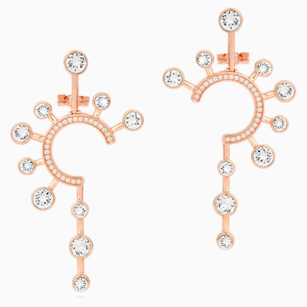 Theater Statement Pierced Earrings, White, Rose-gold tone plated - Swarovski, 5569151