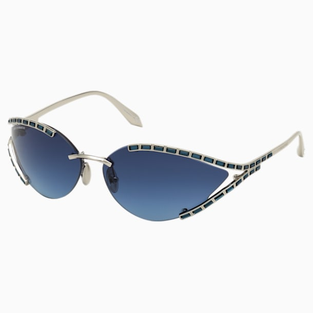 Fluid Cat-Eye Sunglasses, SK0273-P, Blue - Swarovski, 5569359