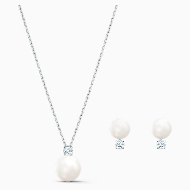 Conjunto Treasure Pearl, blanco, baño de rodio - Swarovski, 5569758