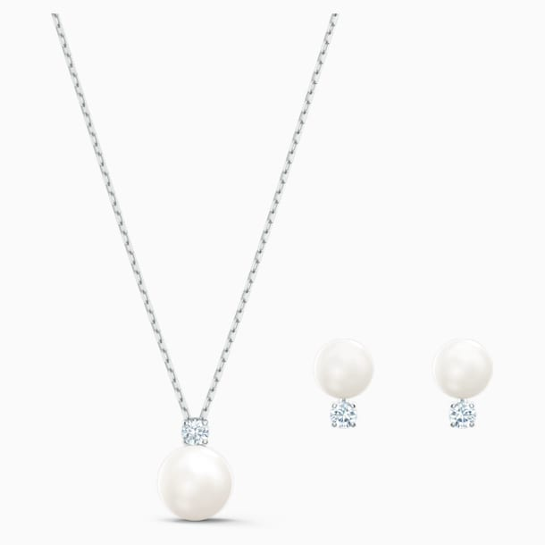 Treasure Pearl 套裝, 白色, 鍍白金色 - Swarovski, 5569758