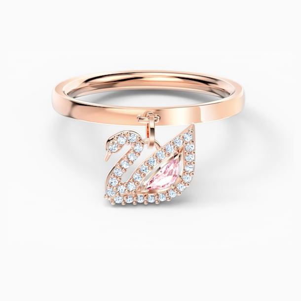 Λαμπερό δαχτυλίδι κύκνος, ροζ, επιχρυσωμένο με ροζ χρυσό - Swarovski, 5569925