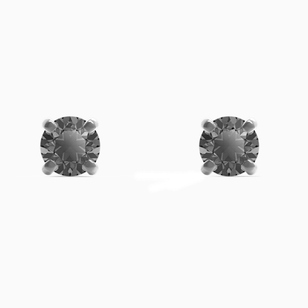 Men's Sleek Stud Pierced Earrings, Grey, Ruthenium plated - Swarovski, 5571555
