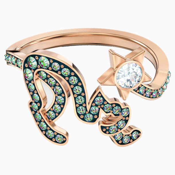 Cattitude 戒指, 綠色, 鍍金色色調 - Swarovski, 5572170