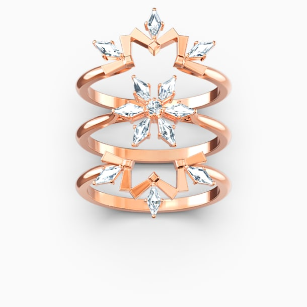 Magic Ring Set, White, Rose-gold tone plated - Swarovski, 5572493