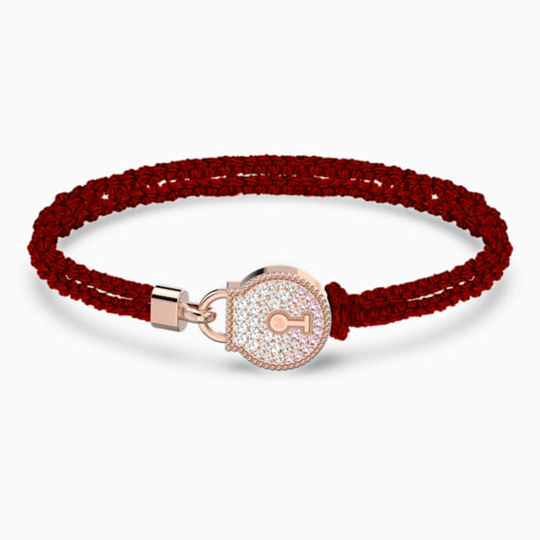Togetherness Lock Bracelet, Red, Rose-gold tone plated - Swarovski, 5572526