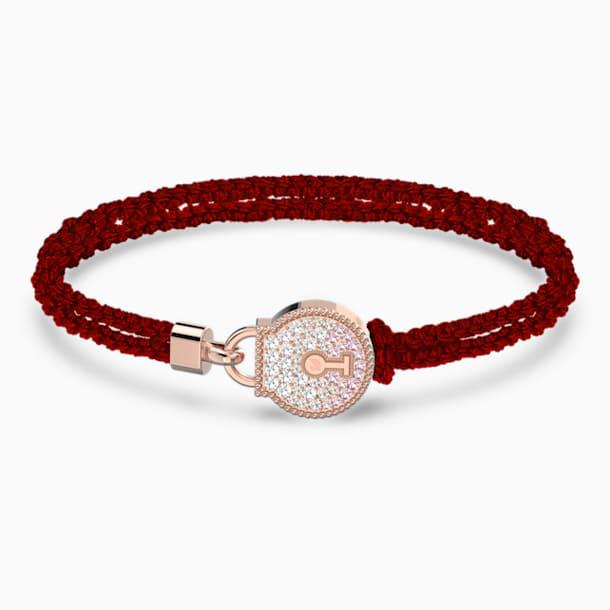 Togetherness Lock Bracelet, Red, Rose-gold tone plated - Swarovski, 5572526