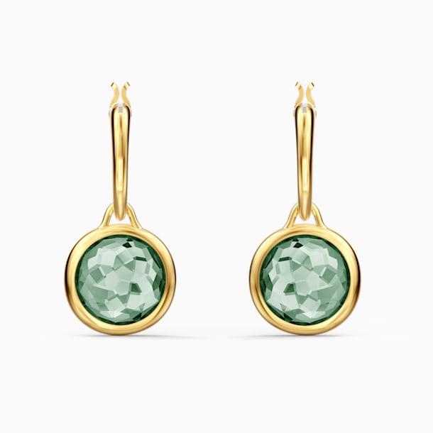 Tahlia Mini Halka Küpeler, Yeşil, Altın rengi kaplama - Swarovski, 5572587