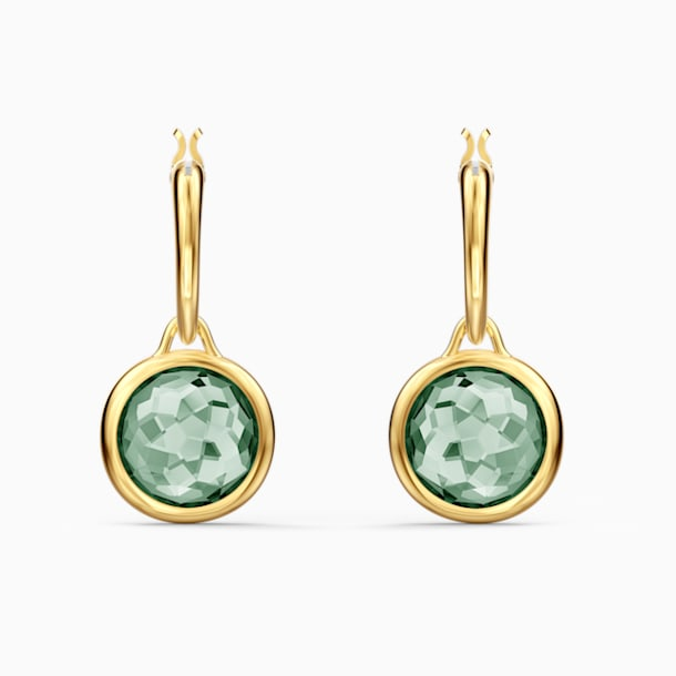 Tahlia Mini Hoop Pierced Earrings, Green, Gold-tone plated - Swarovski, 5572587