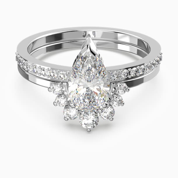 Attract Pear Ring Set, White, Rhodium plated - Swarovski, 5572656