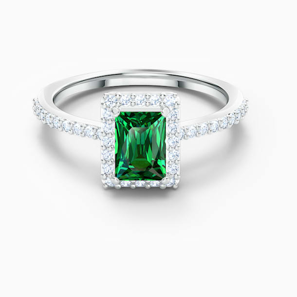 Angelic Rectangular Ring, Green, Rhodium plated - Swarovski, 5572661