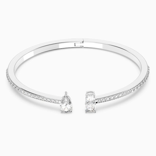 Attract Cuff, White, Rhodium plated - Swarovski, 5572667