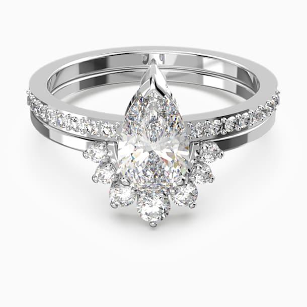 Komplet pierścionków Attract Pear, biały, powlekany rodem - Swarovski, 5572668