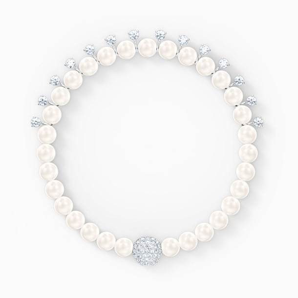 Treasure Pearl Bracelet, White, Rhodium plated - Swarovski, 5572683